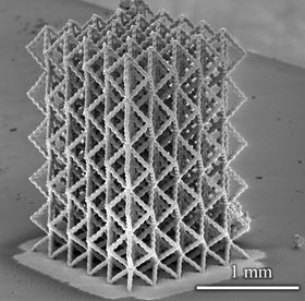 3D microstructure fabricated from nanoparticles.