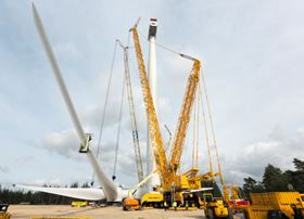 Installation of the new 154 m rotor for the 6 MW offshore wind turbine in Østerild, Denmark. The direct-drive wind turbine is equipped with the world's longest rotor blades – each blade measures 75 m in length.