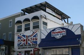 The solar panels mounted on the roof of the Go Fish restaurant in Rehoboth.