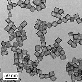 Transmission electron micrograph of typical Pt cubic nanocages.