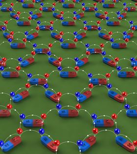 This graphic shows the lattice structure in artificial spin ice, in which the nanoscale magnets follow the proton positioning ordering found in water ice. Each nanomagnet produces a pair of magnetic charges, one positive (red ball on the north pole) and one negative (blue ball on the south pole). The magnetic flux lines (white) point from positive charges to negative charges. Image: Yong-Lei Wang/Zhili Xiao.