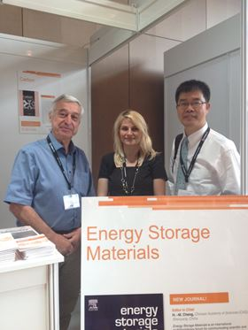 From left to right: Dr. Francois Beguin (Associate Editor), Dr. Jelena Petrovic (Publisher) and Dr. Hui Ming Cheng (Editor-in-Chief) at the Elsevier booth