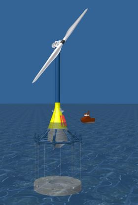 The study into the feasibility and cost of electricity from offshore wind turbines on floating, tension legged platforms in water depths of 70-300 m, was conducted by Project Deepwater.