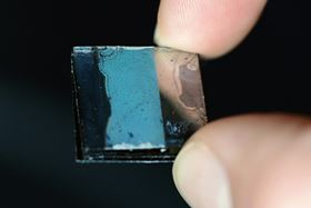 The new germanium nanofilm not only shimmers like an opal but is hard as a crystal, exceptionally thin and highly porous. Photo: Andreas Battenberg/TUM.