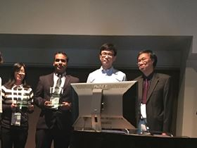 The winners of the 2015 Biomaterials Outstanding Paper Award at the World Biomaterials Congress 2016 (left to right: Chieh-Cheng Huang, Prof. Ankur Singh for Alberto Purwada, Charlie Ren for Bernhard Jank).