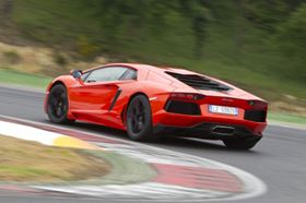 Built in Italy. The Aventador LP 700-4 has a top speed of 350 km/h (217 mph) and 0-100 km/h (0-62 mph) acceleration of 2.9 seconds.