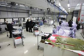 The clean room at the Sant'Agata CFRP production plant.