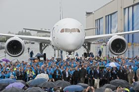 Boeing celebrated the delivery of the first 787 Dreamliner on Sept. 26 to launch customer ANA during a ceremony adjacent to the factory where the airplane was assembled.