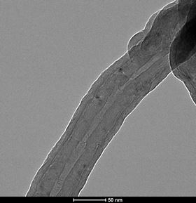 Electron microscope image of a multi-walled carbon nanotube coated with aluminum oxide by atomic layer deposition.
