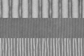 These scanning electron microscope images show the sequence of fabrication of fine lines by the new process. First, an array of lines is produced by a conventional electron beam process (top). The addition of a block copolymer material and a topcoat result in a quadrupling of the number of lines (center). Then the topcoat is etched away to expose the new pattern of fine lines (bottom). Images courtesy of the researchers.