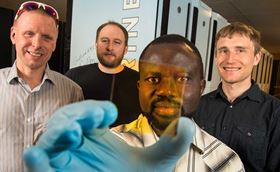 A multi-institutional team led by NREL has discovered a way to create new alloys that could form the basis for next-generation semiconductors. The NREL team includes (left to right) Stephan Lany, Aaron Holder, Paul Ndione and Andriy Zakutayev.