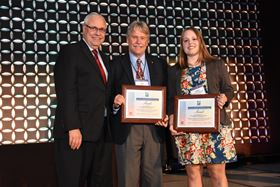Stephanie M Choquette, graduate research assistant, and Iver E Anderson, FAPMI, senior metallurgist, Ames Laboratory, receiving the award.