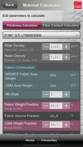The Owens Corning technical fabrics App – Material Calculator.
