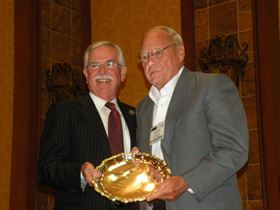 David Marsh (right), owner of Marsh Plating, accepting the NASF Presidential Award.