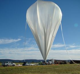 Inflation of the balloon with helium. (Picture courtesy of Dr Alexey Kondyurin http://largeconstructioninspace.blogspot.com.au/.)
