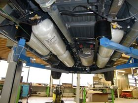 Commercial van equipped by Greenes Group with five R110 certified type IV fibre glass composite cylinders manufactured by Gastank Sweden AB. HiPer-tex fibre was supplied by 3B-the fibreglass company. Gastank Sweden won the Composites Sustainability Award in the Market Growth category at the American Composites Manufacturers Association (ACMA)'s Composites 2011 trade show held in February in Ft. Lauderdale, Florida. (Picture courtesy of Greenes Group.)