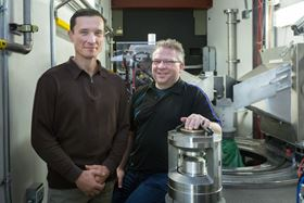 ORNLs Ilia Ivanov (left) and Chris Tulk (right) in front of the SNAP diffractometer. Photo: Genevieve Martin/ORNL.