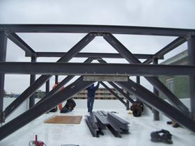 Installation of the composite support structure.