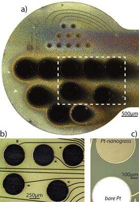 Optical images of passively deposited Pt-nanograss on a polyimide probe before (a) and after (b) mechanical cleaning. The probe in (c) shows two neighboring electrode sites with and without actively deposited Pt-nanograss on the upper and lower site, respectively.