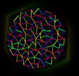This image of a quasicrystal lattice shows the uniquely symmetrical but never-repeating pattern of its components. The colors correspond to the orientation of the magnetic polarization of each edge. Image: Amanda Petford-Long/Argonne National Laboratory.
