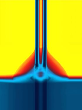 This image shows a droplet being deposited on the switchable surface through a very thin glass tube. Image: Vienna University of Technology.