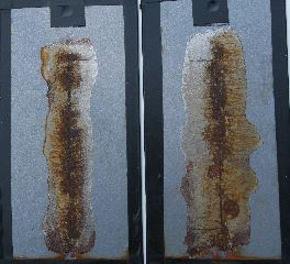 The panels with less corrosion used alternative application methods (ones on the left) and the ones with more corrosion used compressed air.
