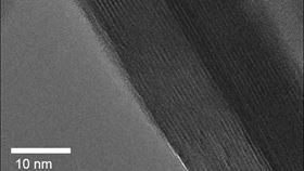 This is a low temperature, high resolution transmission electron microscope image of a platelet of tungsten oxide dihydrate; the 'stripes' are individual layers of atoms separated by water layers. Image: Veronica Augustyn and James LeBeau.