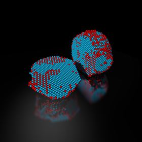 The precise 3D atomic composition of an iron-platinum nanoparticle is revealed in this reconstruction, with iron atoms in red and platinum atoms in blue. Image: Colin Ophus and Florian Nickel, Berkeley Lab.