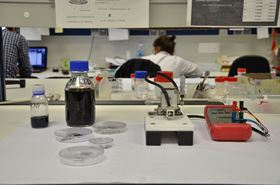 Photo of the equipment used to produce the new catalyst made of graphene with oriented metal nanoparticles.