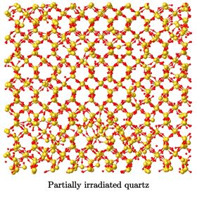 Image showing the atomic structure of a partially-irradiated quartz sample. Image: N.M. Anoop Krishnan/UCLA.