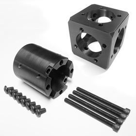 The Carbon Erector main block and connector kit.