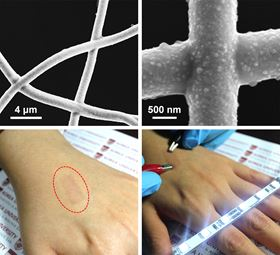 Self-junctioned copper nanofiber transparent flexible films are produced using electrospinning and electroplating processes that provide high performances by eliminating junction resistance at wire intersections.