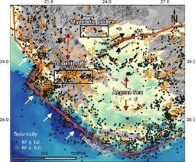 Seismotectonic map for the broader Aegean Sea.