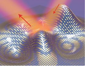 This image shows a 3D illustration of a metasurface skin cloak made from an ultrathin layer of nanoantennas (gold blocks) covering an arbitrarily shaped object. Light reflects off the cloak (red arrows) as if it were reflecting off a flat mirror. Image: Xiang Zhang group, Berkeley Lab/UC Berkeley.
