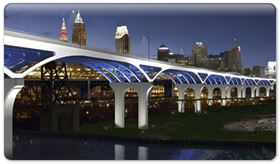 An artist's rendering of the I-90 Innerbelt Bridge Project in downtown Cleveland.