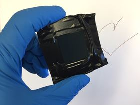 This first version of a new layered perovskite solar cell already achieves an efficiency of more than 20%, rivaling many commercial solar cells. Photo: Onur Ergen, UC Berkeley.