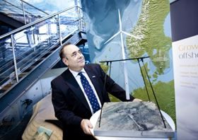 First Minister Alex Salmond views model of Statoil's Hywind turbine in Stavanger in Norway.