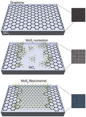 This schematic shows the chemical assembly of 2D crystals. Channels are etched into graphene and then molybdenum disulfide begins to nucleate around the edges and within the channel. At the edges, molybdenum disulfide slightly overlaps the top of the graphene, while further growth results in molybdenum disulfide completely filling the channels. Image: Berkeley Lab.