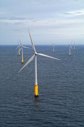 Vestas 2 MW wind turbines generating electricity at an wind farm off the coast of Wales in the UK. (Picture courtesy of Vestas Wind Systems.)