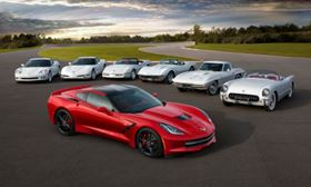 Seven generations of the Chevrolet Corvette. (Click to enlarge image.) (Picture © Chevrolet/GM.)
