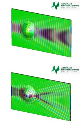 In the top image, the graded index nanocomposite has been applied and there is a reduction in the amount of shadowing seen immediately after the object, as well as a noticeable improvement in the reconstruction of wave fronts. The effect is to 'cloak' the object: such a structure can hide an object that would ordinarily have caused the wave to be scattered. In the bottom image, the cloak is not being used and so the object along the path of the traveling wave can be seen, drastically changing its electric field configuration. Images: QMUL.