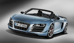 Audi has employed lightweight materials including carbon fibre composite to reduce the weight of its new, limited edition R8 GT Spyder sports car.