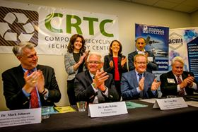 From left to right (front): D. Mark Johnson, director of the Department of Energy's Advanced Manufacturing Office, D. Luke Robins, president, Peninsula College, Dr Craig Blue, IACMI CEO, Robert Larsen, Composite Recycling Technology Center CEO, (back) Colleen McAleer, Port of Port Angeles president; Maria Cantwell, State of Washington senator; Brian Bonlender, Washington State Department of Commerce director.