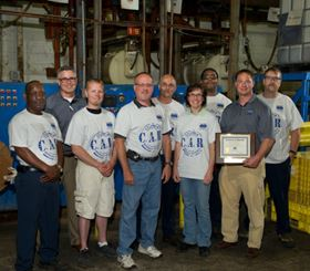 Columbia Chemical's Tom Alderson and Chad Murphy recently visited Mid State Plating Co. (Flint, Mich.) to present the team with their Columbia Approved Resource (C.A.R.) certificate. From left: Dwayne Gillespie, Tom Alderson, Troy Shipperley, Tim Stokes, Doug Drury, Dana Linker, Spencer Smith, Chad Murphy and Tom Meier.
