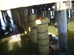 Mfg S Frp Pile Jackets Restore St George S Pier In New