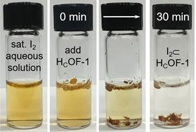 Iodine is removed from an aqueous solution by the addition of the novel microporous material, termed HCOF-1. Photos: Chenfeng Ke/Dartmouth College.