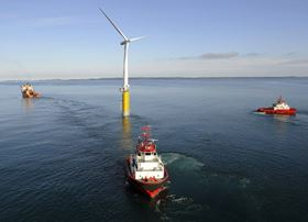 The world's first large-scale floating wind turbine is located approximately 12 km south east of Karmøy in Norway at a water depth of about 220 m.