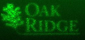 ORNL researchers used their new direct-write technique to fabricate the ORNL logo in palladium. Image: Oak Ridge National Laboratory, US Dept. of Energy.