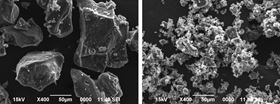 Chunks of this sodium-based salt (left) will only function well in a battery at elevated temperatures, but when they are milled into far smaller pieces (right), they can potentially perform even at low temperatures, making them even more promising as the basis for safer, cheaper rechargeable batteries. Photo: Tohoku University, Japan.