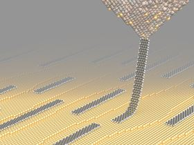 Artistic representation of a graphene nanoribbon dragged along a gold surface by an AFM tip. Credits: Empa  nanotech@surfaces Laboratory
